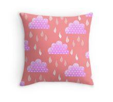 Rain Clouds (Pink) Throw Pillow