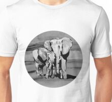 Black and white mother and baby elephant Unisex T-Shirt