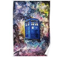 TARDIS in space watercolour art  Poster