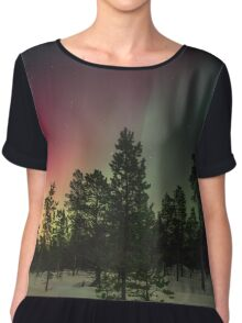 A Beauitful Snowy Winter Nature Photo with Polar Lights Chiffon Top