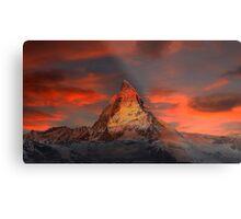 Beautiful Red Sky Matterhorn in Switzerland Metal Print