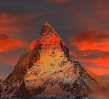 Beautiful Red Sky Matterhorn in Switzerland Sticker
