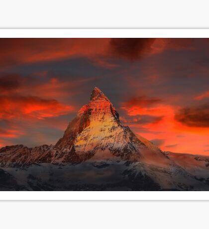Beautiful Red Sky Matterhorn in Switzerland Sticker