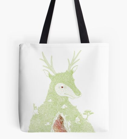 Stag at the Heart of the Mountain Tote Bag
