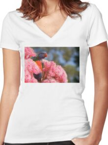 The Bird, the Bee and the Gum Blossoms ~ Rainbow Lorikeet Women's Fitted V-Neck T-Shirt