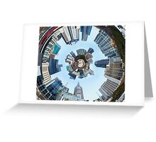 Distorted 3d Cityscape Planet Inside Tunnel Greeting Card