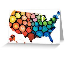 United States of America Map 1 - Colorful USA Greeting Card