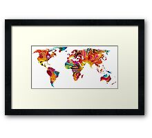 Map of The World 2 -Colorful Abstract Art Framed Print