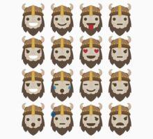 Warrior Viking Emoji 16 Different Facial Expressions Kids Tee