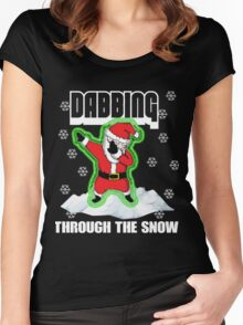 Cute DABBING THROUGH THE SNOW T-SHIRT Funny Santa Has Swag: Dabbin Christmas Shirts Women's Fitted Scoop T-Shirt