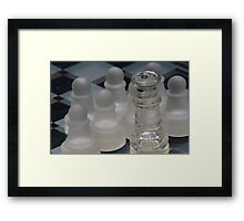 Chess Queen Surrounded by Pawns Framed Print