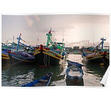 Vietnam Fishing Boats Photograph Poster
