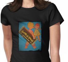 Boy Hiding Chocolate Bars Womens Fitted T-Shirt