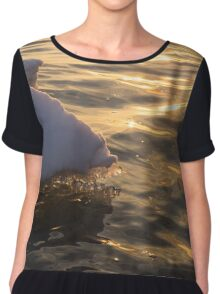 Happy Sunset Ice - the Icy Snowbanks Reflecting in the Lake Chiffon Top