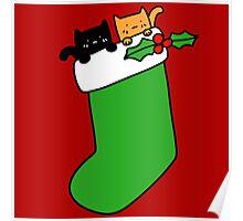 Black and Orange Stocking Kittens Poster