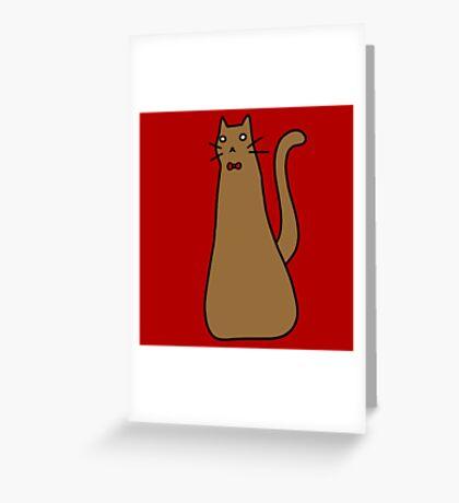 Long Brown Cat Greeting Card