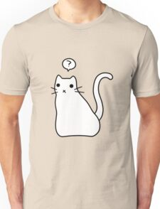 Confused White Kitty Unisex T-Shirt