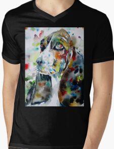 BASSET HOUND - watercolor portrait.2 Mens V-Neck T-Shirt