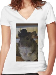 Chinchillin like a Chinvillain Women's Fitted V-Neck T-Shirt