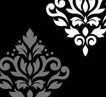 Scroll Damask Art I Black Grey White by NataliePaskell