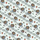 Cute Hedgehog with floral decor.Doodle  pattern. by Tatiakost