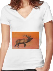 Magestic Elk Women's Fitted V-Neck T-Shirt