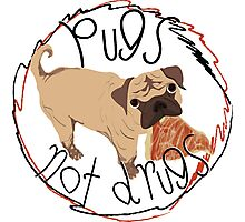 Pugs Not Drugs - Pizza Photographic Print