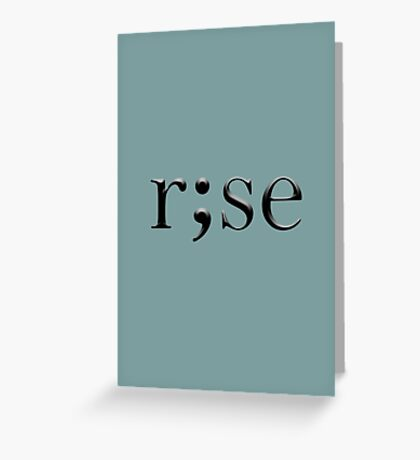"""rise semicolon"" abstract typography Greeting Card"