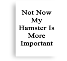 Not Now My Hamster Is More Important  Canvas Print