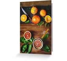 Different sort of orange fruit on wooden Greeting Card