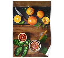 Different sort of orange fruit on wooden Poster