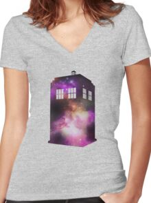 Space Tardis Women's Fitted V-Neck T-Shirt