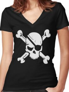 Pirate Skull and Crossbones With Eye Patch T Shirt Women's Fitted V-Neck T-Shirt