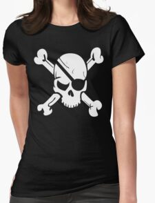 Pirate Skull and Crossbones With Eye Patch T Shirt Womens Fitted T-Shirt