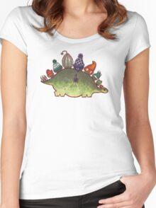 Green Stegosaurus Derposaur with Hats Women's Fitted Scoop T-Shirt