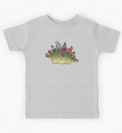 Green Stegosaurus Derposaur with Hats Kids Tee