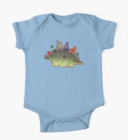 Green Stegosaurus Derposaur with Hats One Piece - Short Sleeve