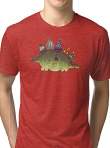 Green Stegosaurus Derposaur with Hats Tri-blend T-Shirt
