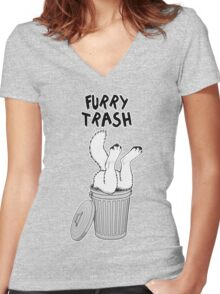 Furry Trash - White/Arctic Wolf Women's Fitted V-Neck T-Shirt