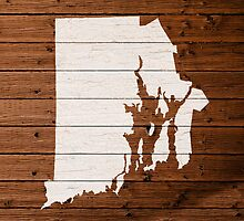 Map Of Rhode Island State Outline White Distressed Paint On Reclaimed Wood Planks. by map-lover