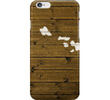 Map Of Hawaii State Outline White Distressed Paint On Reclaimed Wood Planks. iPhone Case/Skin