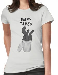 Furry Trash - Black/Melanistic Wolf Womens Fitted T-Shirt