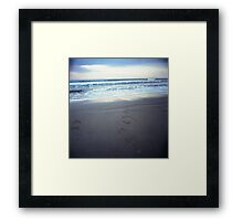 Foot prints at dawn on empty sandy beach sea side Hasselblad square medium format film analogue photograph Framed Print