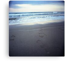 Foot prints at dawn on empty sandy beach sea side Hasselblad square medium format film analogue photograph Canvas Print
