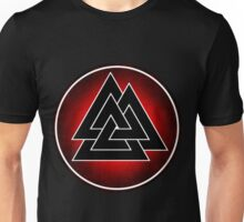 Norse Valknut - Red and Black Unisex T-Shirt
