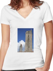 Towering Tuscany Women's Fitted V-Neck T-Shirt