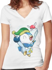Pokemon Link Piplup Women's Fitted V-Neck T-Shirt