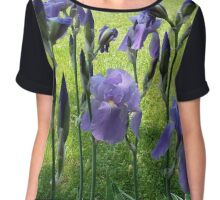 Purple iris with a bright spring green background Chiffon Top