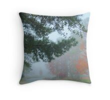 foggy early morning Throw Pillow