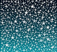 Silver Stars on Dark Blue Sky Background by amovitania